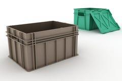 Apra il recipiente di plastica ed il contenitore con un coperchio Immagini Stock Libere da Diritti