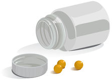 Apra il recipiente di plastica per le compresse Immagine Stock Libera da Diritti