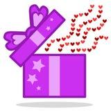 Apra il regalo con l'icona dei cuori Immagini Stock
