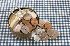 Apra il risparmio può Fotografia Stock