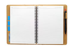 Apra il taccuino in bianco Fotografia Stock