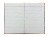 Apra il taccuino in bianco su priorità bassa bianca Fotografia Stock Libera da Diritti