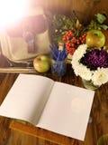 Apra il taccuino di carta con i rifornimenti e le mele di scuola nei precedenti Immagini Stock