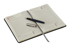 Apra il taccuino e la penna Fotografia Stock