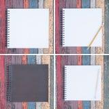 4 apra il taccuino e la penna porpora sulla tavola di legno d'annata per fondo e testo Fotografia Stock