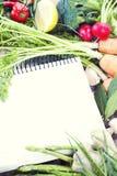 Apra il taccuino e la verdura fresca fotografia stock libera da diritti