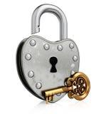 Apra il vecchio lucchetto con la chiave dell'oro Fotografie Stock