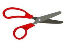 Apra il vettore rosso di forbici su fondo bianco Immagine Stock