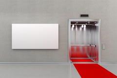 Elevatore con tappeto rosso ed il tabellone per le affissioni Immagini Stock Libere da Diritti