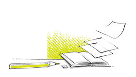 Apra l'icona del libro, il disegno stylized, illustrazione di disegno a mano libera Fotografia Stock