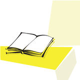 Apra l'icona del libro, riga calligrafica a mano libera Immagine Stock