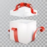 Apra l'illustrazione di vettore del contenitore di regalo Fotografia Stock