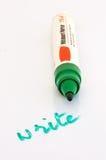Apra l'indicatore di whiteboard con scrivono scritto con esso Immagine Stock