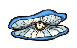 Apra l'ostrica con la perla isolata su bianco Immagine Stock