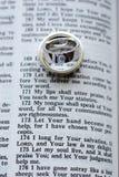 Apra la bibbia con gli anelli di cerimonia nuziale Immagine Stock