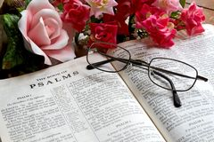 Apra la bibbia ed i vetri Immagini Stock Libere da Diritti