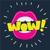 Apra la bocca ed il messaggio di wow, il fondo promozionale, manifesto della presentazione illustrazione vettoriale