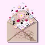 Apra la busta con il bollo postale Dal bordo della busta schiocca fuori le lettere agli amici con un'iscrizione ed i fiori della  illustrazione di stock