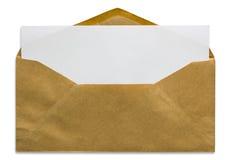 Apra la busta marrone con la lettera in bianco Immagini Stock Libere da Diritti
