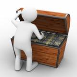 Apra la casella con i dollari su priorità bassa bianca Immagine Stock Libera da Diritti