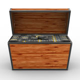 Apra la casella con i dollari su priorità bassa bianca Immagine Stock