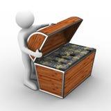 Apra la casella con i dollari su priorità bassa bianca Fotografia Stock