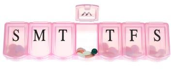 Apra la casella della pillola fotografia stock libera da diritti