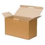 Apra la casella di carta marrone Immagini Stock