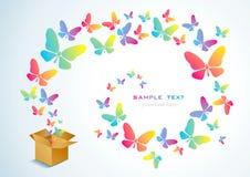 Apra la casella e la farfalla illustrazione vettoriale