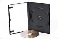 Apra la cassa bianca di DVD con un oro DVD immagini stock