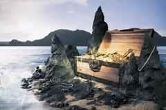 Apra la cassa di tesoro con oro luminoso fotografie stock
