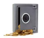 Apra la cassaforte con le monete Immagini Stock Libere da Diritti