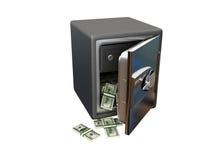 Apra la cassaforte d'acciaio con soldi Immagine Stock