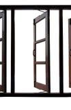 Apra la finestra di legno isolata fotografia stock