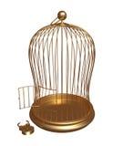 Apra la gabbia dell'oro con la serratura forzata Fotografia Stock