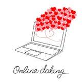Apra la mano calligrafica del computer portatile dei cuori rosa-rosso moderni dello schermo blu che segna la datazione con letter Immagini Stock Libere da Diritti