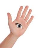 Apra la mano con l'occhio Fotografia Stock