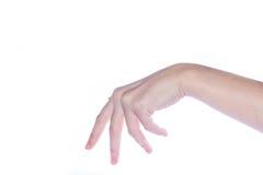 Apra la mano della donna su fondo bianco Immagini Stock