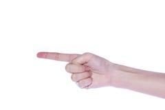 Apra la mano della donna su fondo bianco Immagine Stock