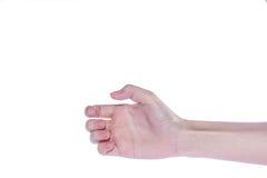 Apra la mano della donna su fondo bianco Immagini Stock Libere da Diritti