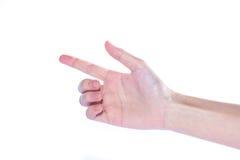 Apra la mano della donna su fondo bianco Fotografia Stock
