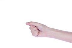 Apra la mano della donna su fondo bianco Immagine Stock Libera da Diritti