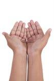 Apra la mano isolata su priorità bassa bianca Immagine Stock