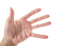 Apra la mano maschio Fotografie Stock Libere da Diritti