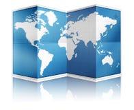Apra la mappa di mondo piegata illustrazione di stock