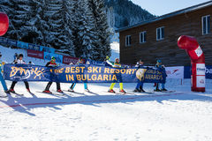 Apra la nuova stagione 2015-2016 dello sci in Bansko, Bulgaria Fotografia Stock Libera da Diritti
