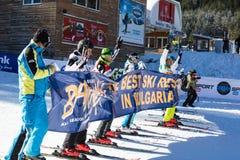 Apra la nuova stagione 2015-2016 dello sci in Bansko, Bulgaria Fotografia Stock
