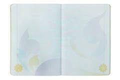 Apra la pagina del passaporto dello spazio in bianco della Tailandia su bianco Fotografia Stock