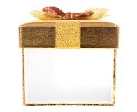 Apra la parete laterale del contenitore di regalo dorato Fotografia Stock