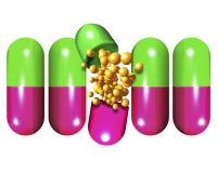 Apra la pillola con il soddisfare Immagini Stock
